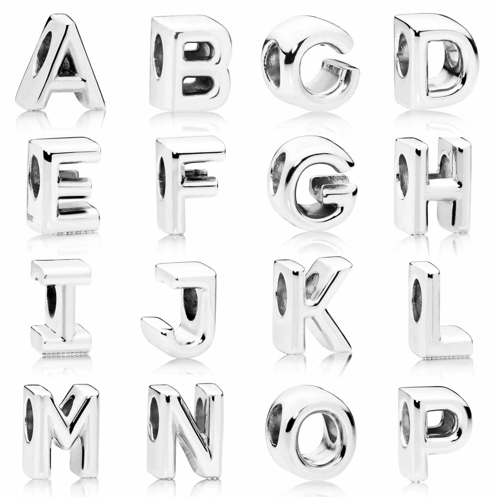Abby Jewelry S925 Sterling Silver A-Z Smooth Alphabet 26 Letter With CZ Charm bead Fits European DIY Bracelets Necklaces