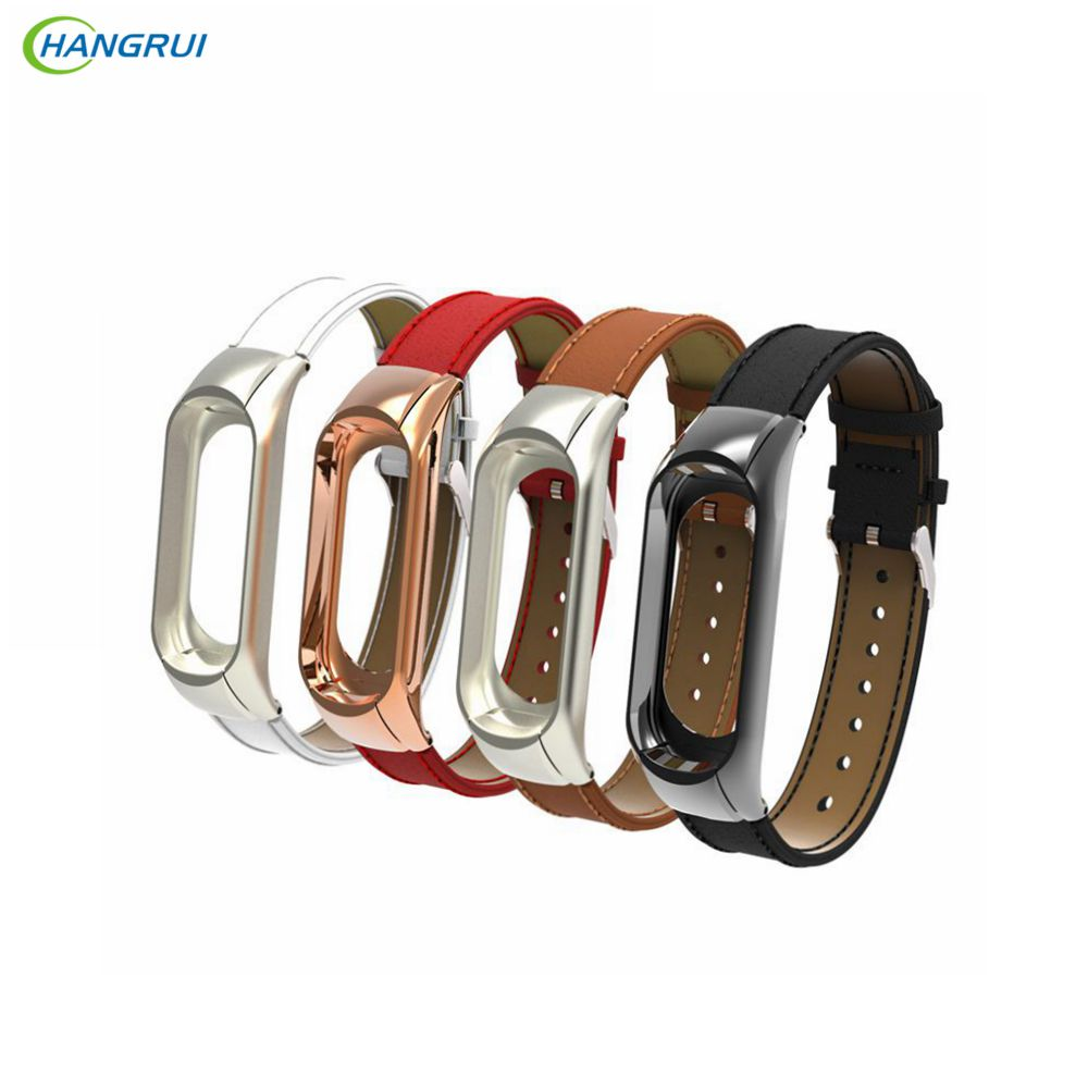 Hangrui For Xiaomi Mi Band 3 4 Fitness Tracker Colorful Leather Mi Band 4 3 Strap Black Gold Case Fashion Bracelet Wristbands
