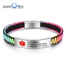 Personalized Jewelry Medical Alert ID Bracelets for Women Men Custom Stainless Steel Free Engraving Diabetes Bracelet (BA102891)