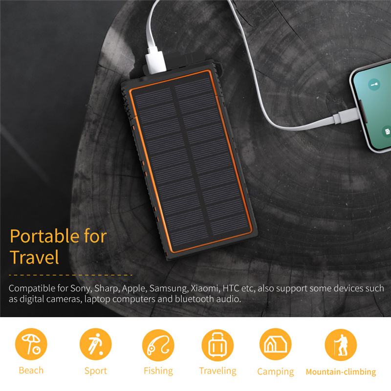 <font><b>15000mAh</b></font> Solar <font><b>Power</b></font> <font><b>Bank</b></font> Portable Charger for Travel Camping Light Waterproof Powerbank for iPhone Samsung <font><b>Xiaomi</b></font> mi Poverbank image