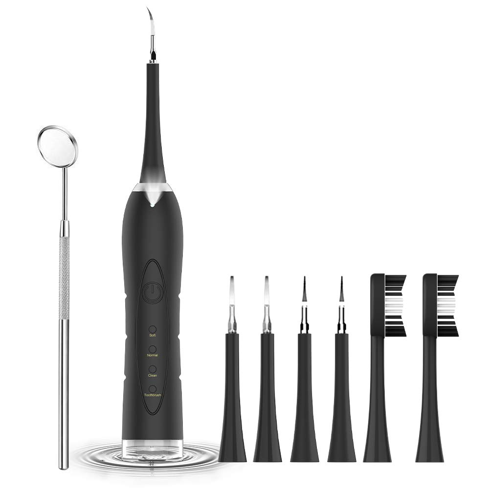 Electric Ultrasonic Sonic Dental Scaler Tooth Calculus Remover Cleaner Tooth Stains Tartar Tool With  5 Replaceable Brush Head