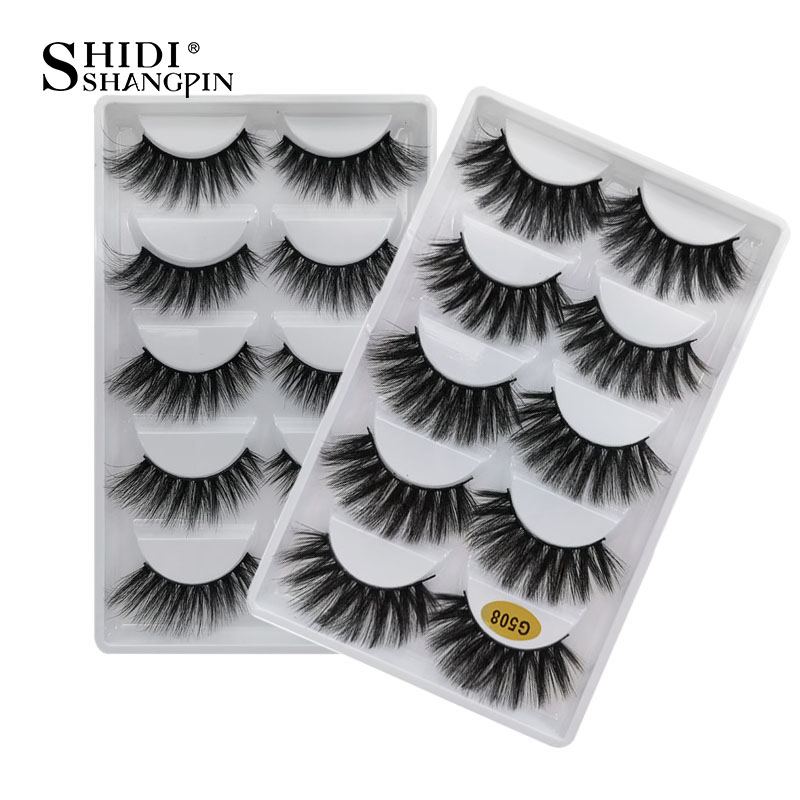 100 Boxes 5 Pairs 3d Eyelash Natural Mink Eyelashes With Private Logo Fluffy Dramatic False Eye Lashes  Maquiagem 3d Mink Cilios
