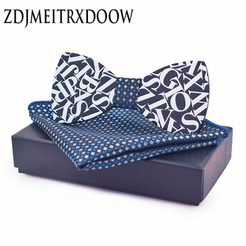 Fashion Letter Style Men's Bow Tie Wooden Bowtie ties for men Pocket square Set white bow tie gravatas para homens casual twill stripe pattern tie pocket square bow tie