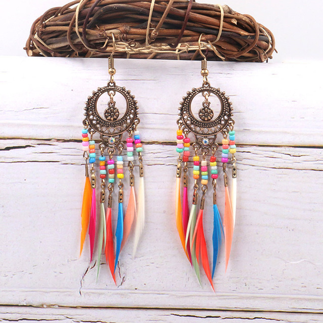 Details about  /White Aztec Long Feather Dream Catcher Earring Boho Festival Boutique Uk