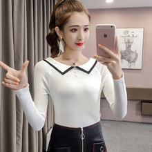 shintimes Beading Women Sweater Slim Knitted White Black High Elastic Striped 2019 Fall Winter Fashion Pullovers