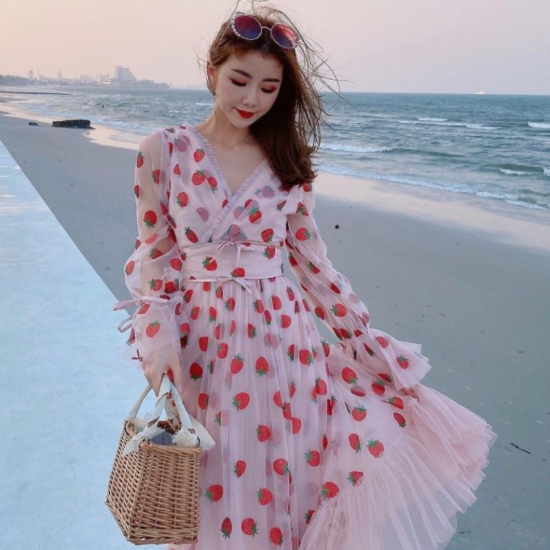 Summer Runway Hot Drill Strawberry Dress Women Sweet Long Flare Sleeve V-Neck Empire Lace-up Sheer Mesh Holiday Pink Dress