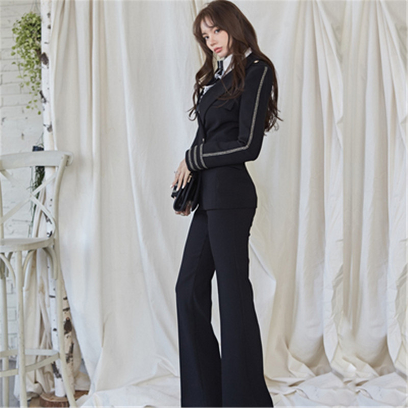 Fashion Business Pant Suits Uniform Formal Double Breasted Blazer Jacket and Long Pant Blazer Set OL Women 2 Pieces Set Outfits