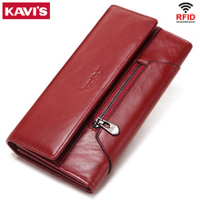 KAVIS Genuine Leather Women Wallet New Style Female Portomonee Fashion Money Bags Zipper Card Holder Handy Perse High Capacity