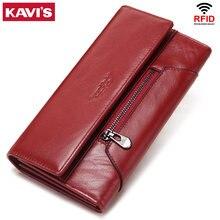 KAVIS Genuine Leather Women Wallet New Style Female Portomonee Fashion Money Bags Zipper Card Holder Handy Perse High Capacity