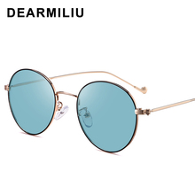 DEARMILIU 2020 new Retro round frame discoloration Sunglasses trend Blu