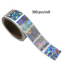 300 pcs/roll journal stickers square laser color hologram scratch sticker for commercial promotion decoration