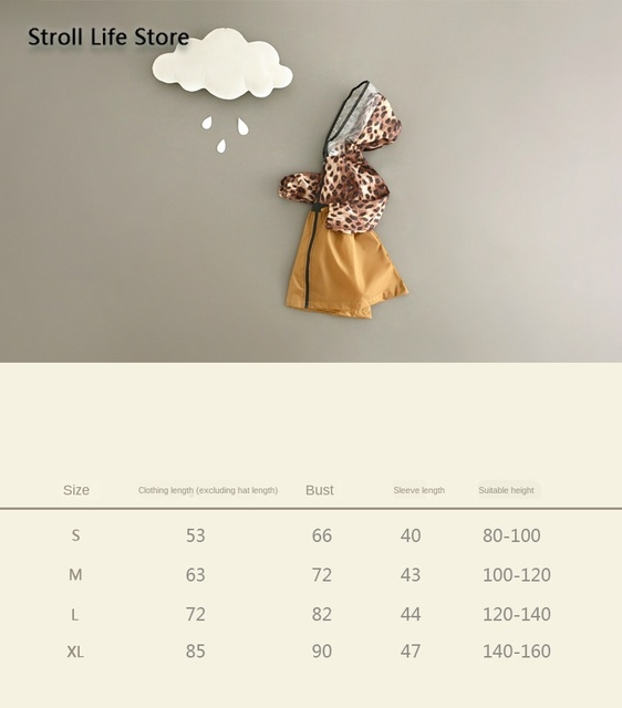 Leopard Print Raincoat Kids Girl's Rain Coat Cover Japanese Children Yellow Long Rain Poncho Jacket Waterproof Suit Gift Ideas 4