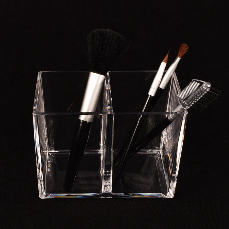 Clear Acrylic  Pencil Cup  Holder Case Desktop Stationery Organizer Compartments  2
