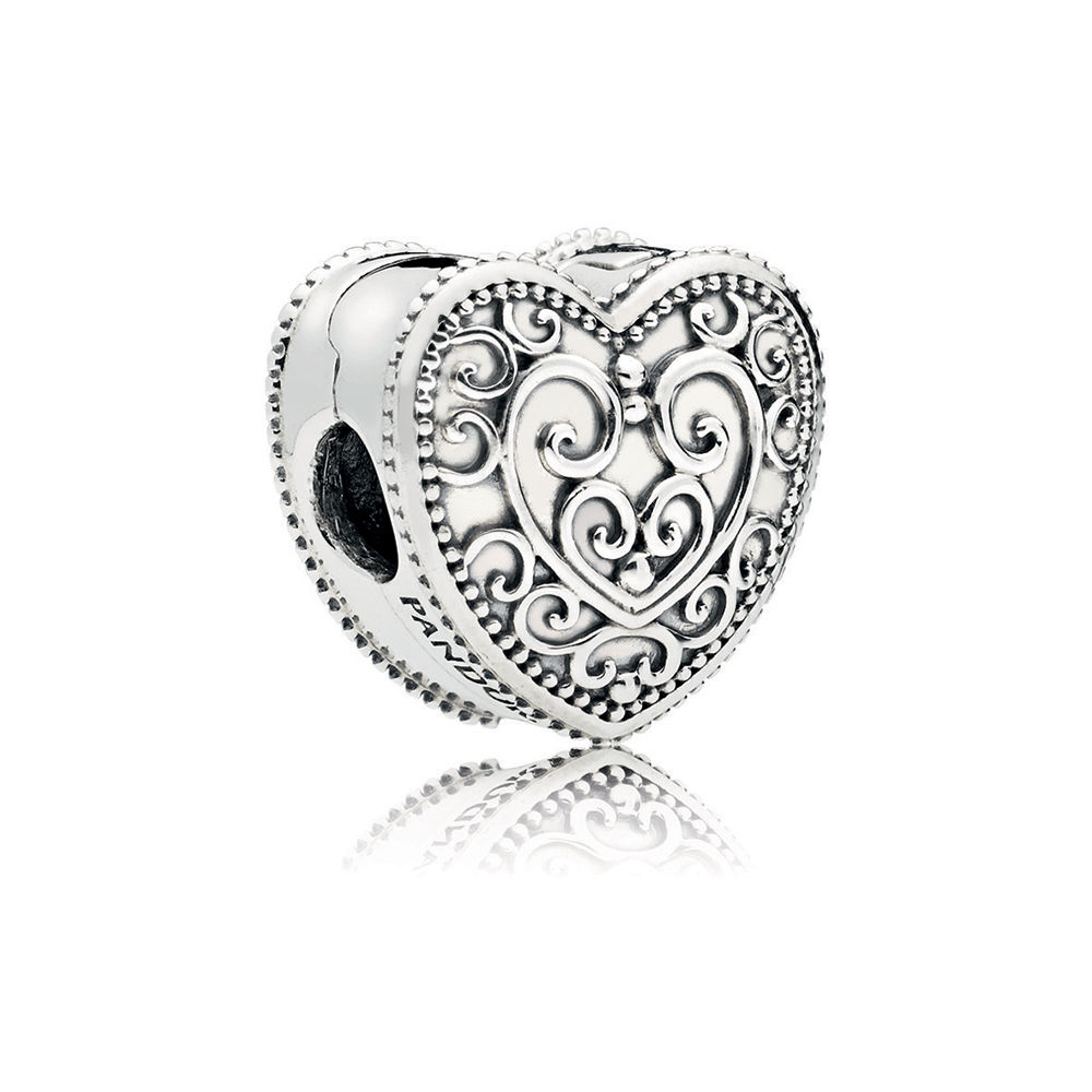 Authentic Sterling Silver Enchanted Heart Bead Clip Charm Gift for Her
