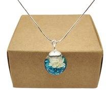 Дейзи Реальный цветок синий Остров Сокровищ минеральная кулон