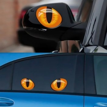 2Pcs 3D Cat Eyes Car Sticker Simulation Reflective Auto Decal Rearview Mirror Window Cover Decoration Exterior Accessories image