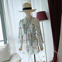Australian Niche Zm Hipster Real Silk Floral Petal Edge Lantern Sleeve Slim Slim Women's Jumpsuit Short Skirt