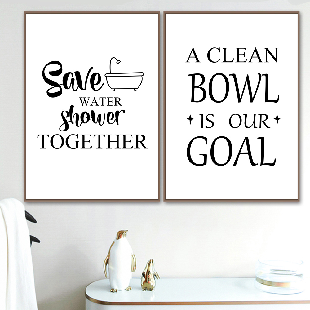 Funny Bathroom Signs Wall Art Canvas Painting Quotes Illustration Poster Print Black And White Picture Toilet Wall Home Decor Buy At The Price Of 2 65 In Aliexpress Com Imall Com