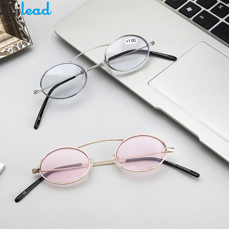 Zilead Oval Metal Reading Glasses Small Frame Color Lens Prebyopia Spectacles For Men Women Ultralight Hyperopia Eyeglasses