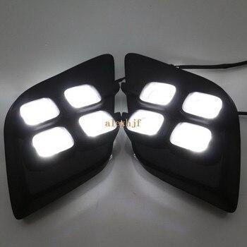 July King LED Daytime Running Lights DRL Case for Toyota Hilux Revo Vigo 2015-2017, 12W 6000K 4LEDs Front Bumper Fog Lamp
