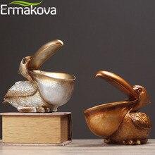 ERMAKOVA 북유럽 동물 조류 입상 보석 키 저장소 크리 에이 티브 수지 큰 부리 새 동상 홈 거실 사무실 테이블 장식