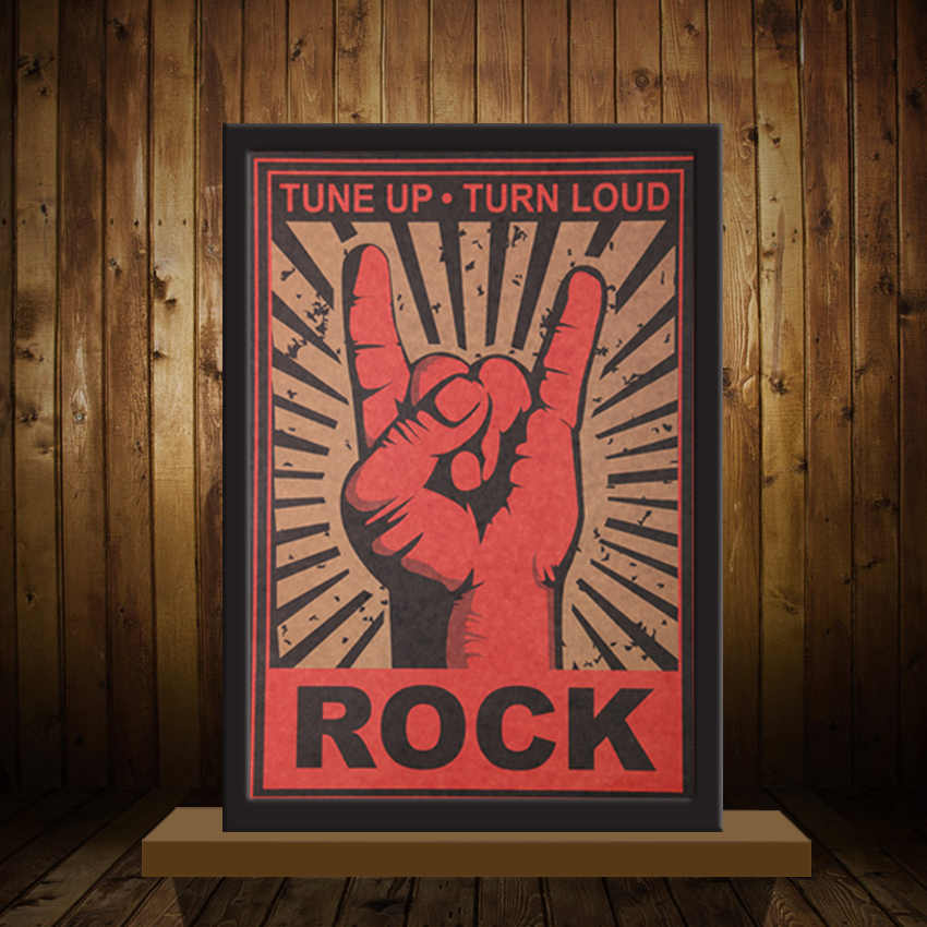Stiker Dinding Wallpaper Mural Vintage Terus Rock And Roll Rock Gerakan Nostalgia Metal Rock Poster Dekoratif Muursticker