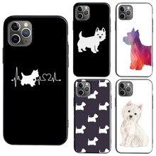 West highland terrier westie caso para iphone 11 12 pro max mini se 2020 6s 8 7 plus x xr xs max capa traseira escudo