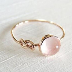 WUKALO Romantic Rose Gold Color Ring Women Solitaire Pink Stone Princess Party Finger Accessories Fashion Jewelry Ring Cute Gift