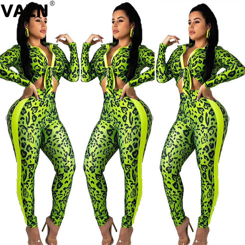 VAZN Green Print Long Pants 2019 New Fashion Casual 2 Pieces V-Neck Women Set Solid Full Sleeve Long Length Bodycon Women Set