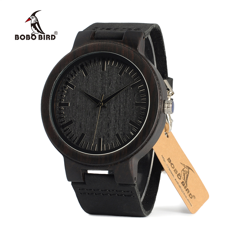 Image 2 - BOBO BIRD Wood Watch relogio masculino Men Ebony Shells Leather Strap Quartz Wristwatches Christmas Gift Best Gift in Sales DealQuartz Watches   -