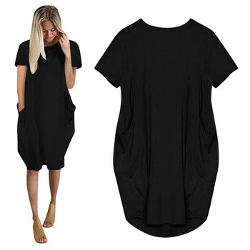 Women Casual Loose Dress with Pocket Ladies Fashion O Neck Long Tops Female T Shirt Dress Streetwear Plus Size 5XL vestidos image