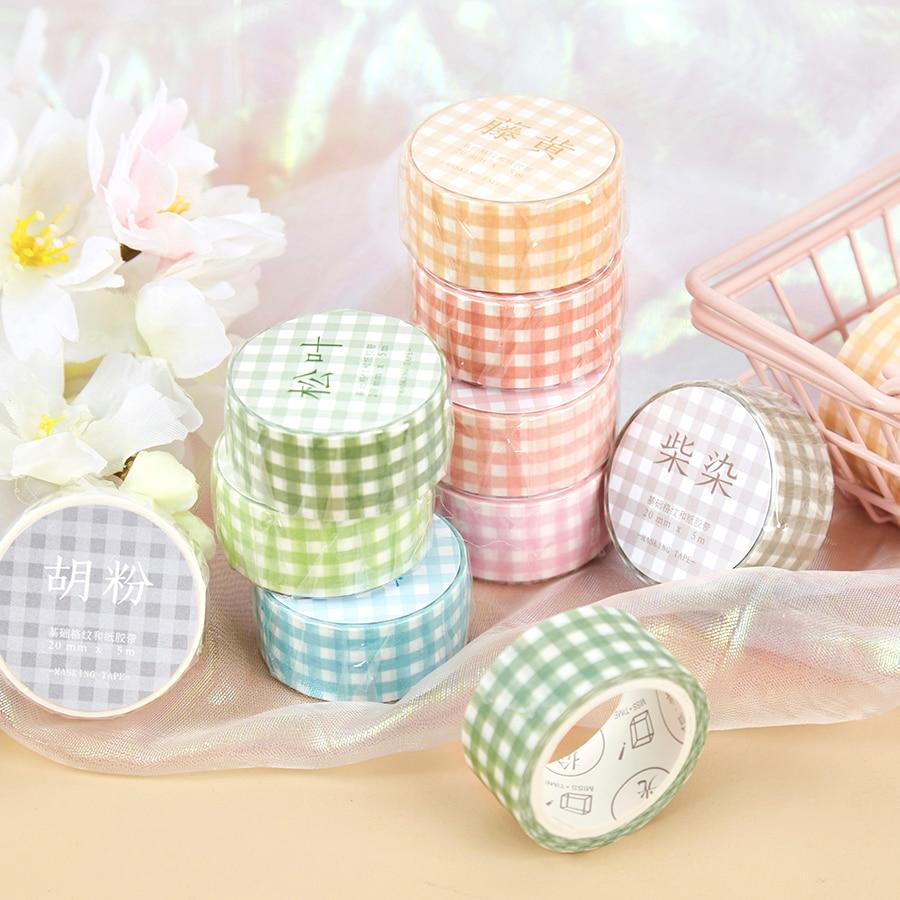 Basic Grid Series Journal Washi Masking Tape Decorative Salt Simple Adhesive Tape DIY Scrapbooking Sticker Label Stationery