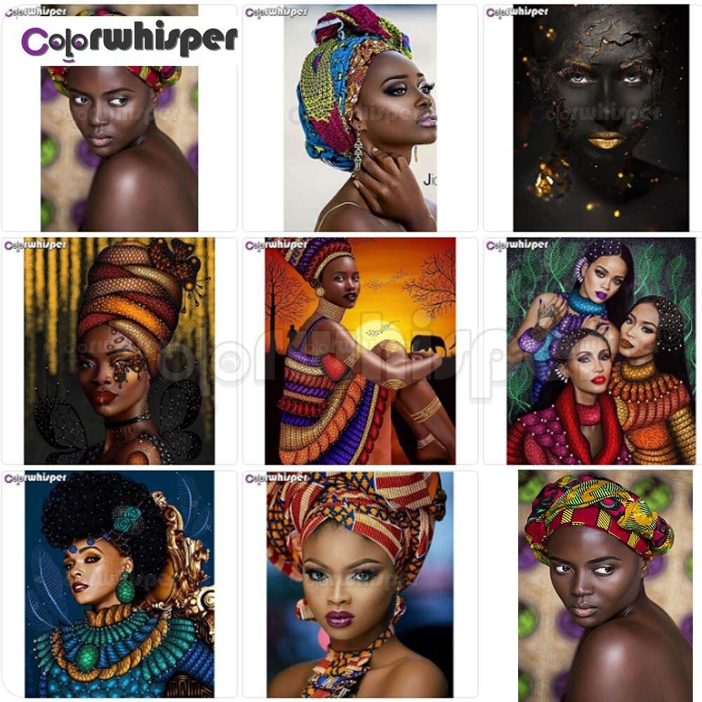 Pintura de diamante 5D cuadrado completo/taladro redondo África Mujer Africana Daimond bordado pintura punto de cruz mosaico imagen Z431 HOMFUN taladro cuadrado/redondo completo 5D DIY pintura de diamante