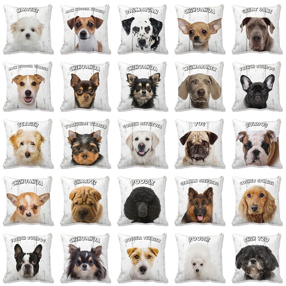 1PC 45*45cm Cute Dog Yorkie Pillow Case Pug Pillows Sofa Car Bed Sofa Pillow Case Bedroom Decoration Cushion Cover Free Shipping