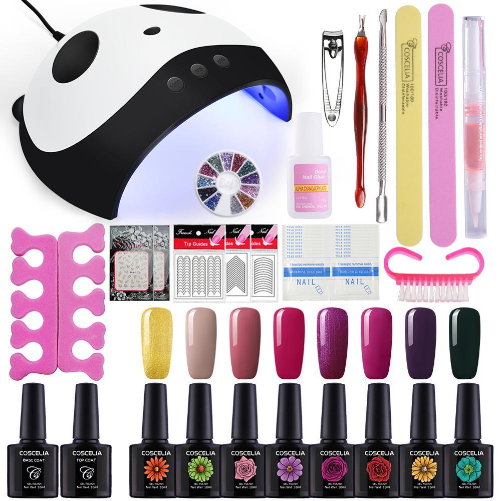 36W UV LED Lamp Dryer 8 Color Gel Nail Polish Kit Soak Off Manicure Set Nail Kit Polish For Art Tools Nail Sets