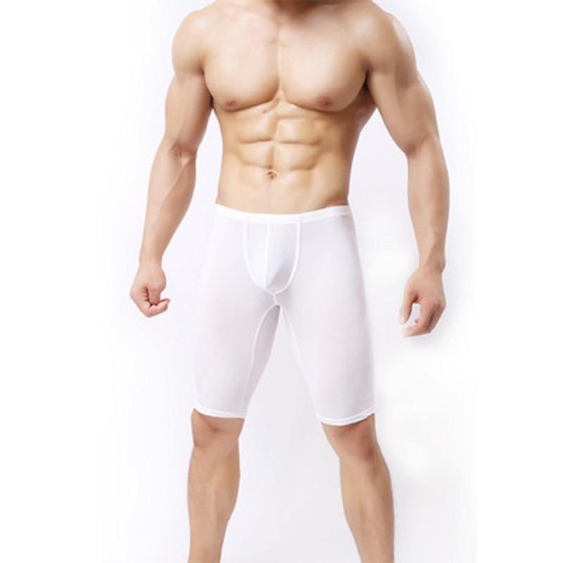 Men's Ultrathin Vogue Sleep Bottoms Casual Interest Closefitting Comfortable Pyjama Middle-Pants U Convex Pouch Erotic Lingerie