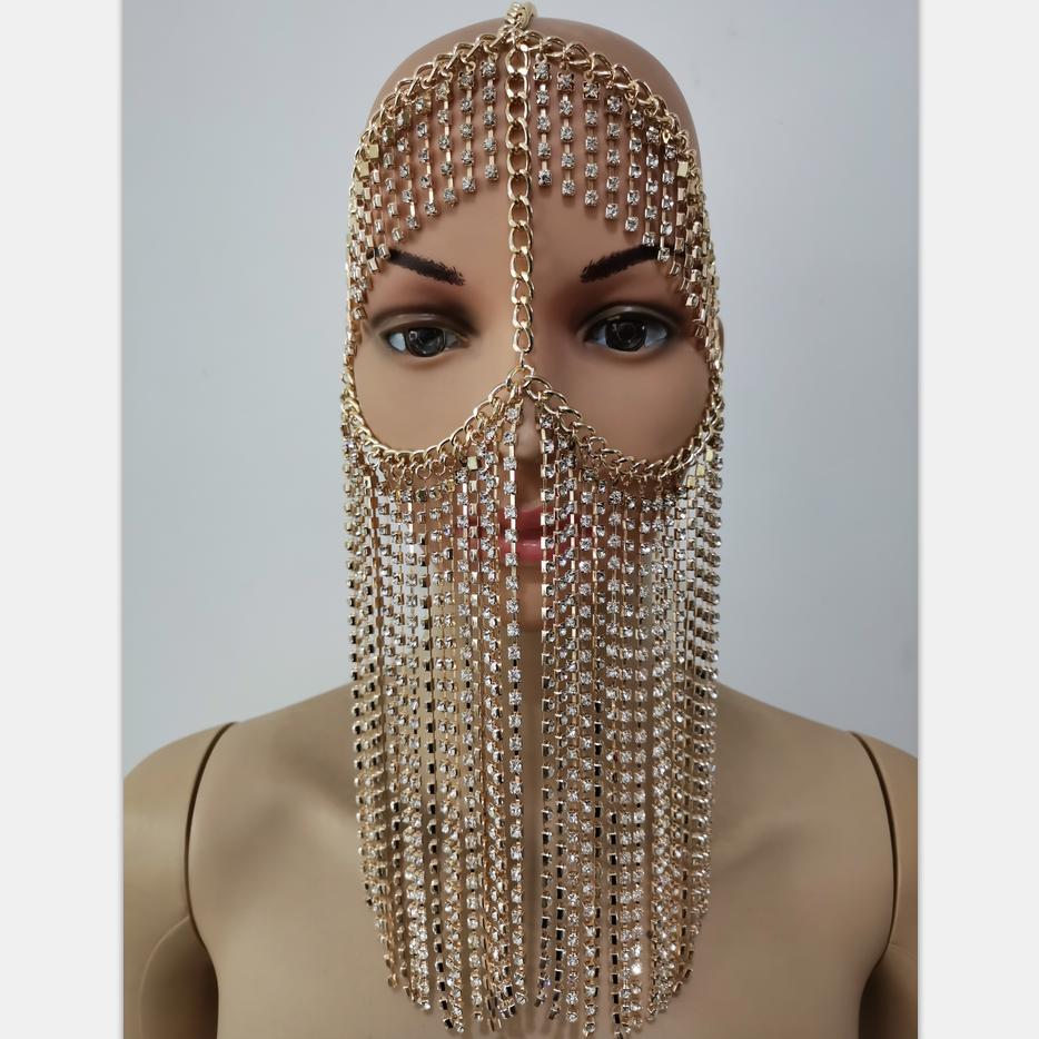 New Fashion RJH007 Gold Rhinestone Chains Face Mask Layers Custome Head Chains Jewelry Costume Jewelry