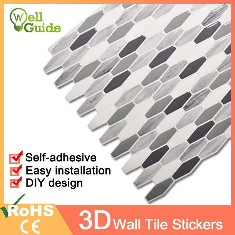 3D Wall Sticker Mosaic Brick Self-Adhesive paper for Kitchen Bathroom Home Waterproof Decal DIY Stickers