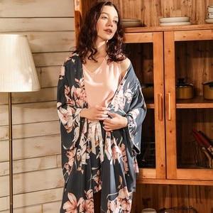 Image 2 - Ladies Floral Printed Deep Grey Elegant Sleepwear Women Wide Sleeve Loose 4Pcs Pajamas Set Soft Homewear Casual Wear For Spring