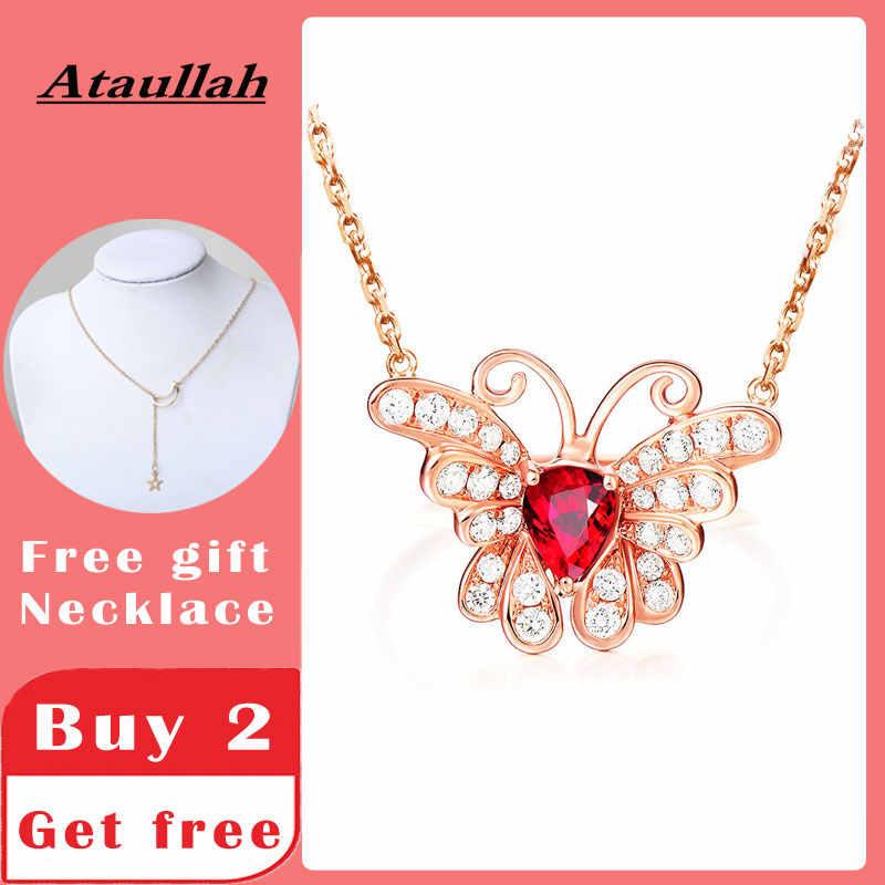 Ataullah ทับทิมสีแดงสร้อยคอจี้ผีเสื้อสร้อยคอเงิน 925 ชุบทอง 18K ผู้หญิง NW098