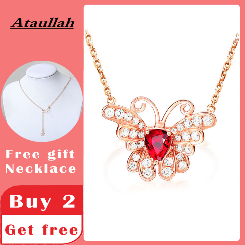 Ataullah Red Ruby Gemstone Necklace Butterfly Pendant Necklaces Silver 925 Jewelry Plated 18K Gold Chain Women NW098 image