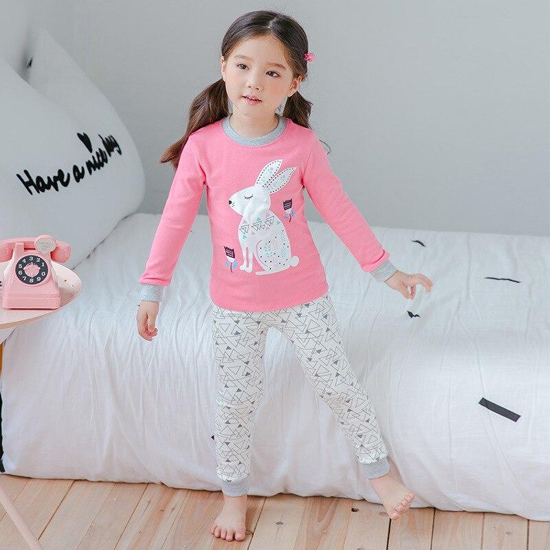 2019 Korean-style Girls' Pajama Autumn & Winter New Style Pure Cotton CHILDREN'S Underwear Suit Children Tracksuit Childrenswear