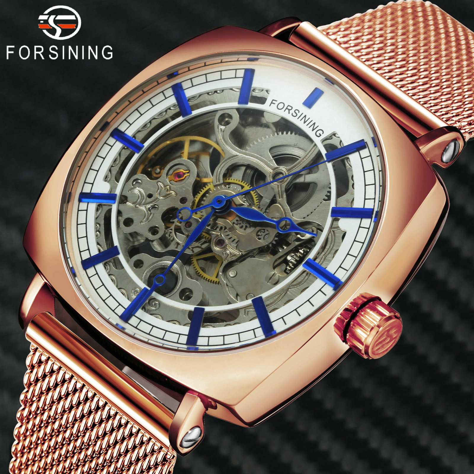FORSINING Top Brand Luxury Automatic Watch Men Skeleton Mechanical Watches Fashion Rose-Gold Square Wristwatches Men's Gift Xmas