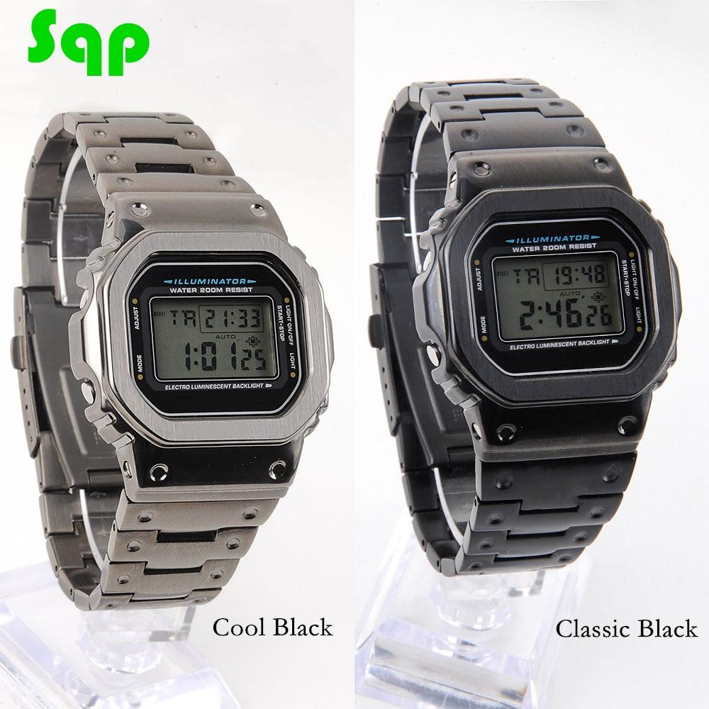 DW5600/5610 Cool/Classic Black Watch Set Modification Watchband Bezel 316L Stainless Steel