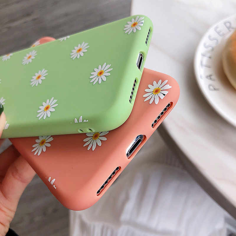Moskado Art Bloemen Daisy Telefoon Case Voor Iphone 11 X Xr Xs Max 6S 7 8 7Plus 5 fashion Daisy Bloem Case Soft Tpu Back Cover Cases