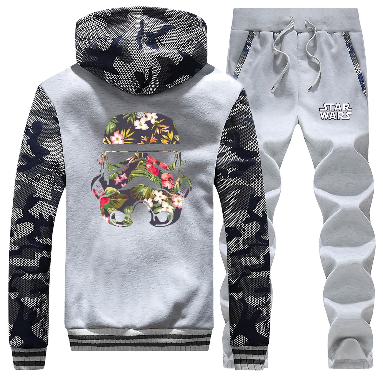 Star Wars Hot Sale Winter Funny Stormtrooper Camouflage Hoodie Men Coat Thick Suit Sweatshirt Suit Warm Jackets+2Piece Set Pants