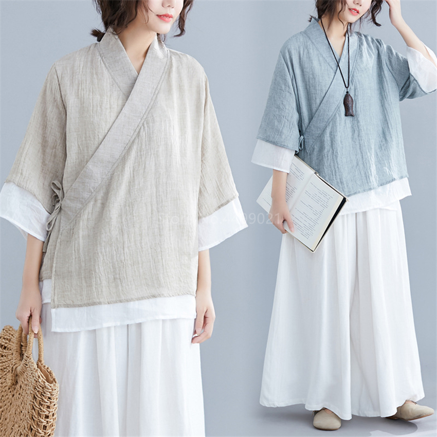 Traditional Chinese Women Blouses Linen Tops Yoga Set Pants Retro Kimono Cardigan Coat Tai Chi Uniform Breathable Casual Hanfu