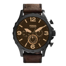 Men's Nate Quartz Stainless Steel with Brown Leather Strap Brand Luxury Casual Watch
