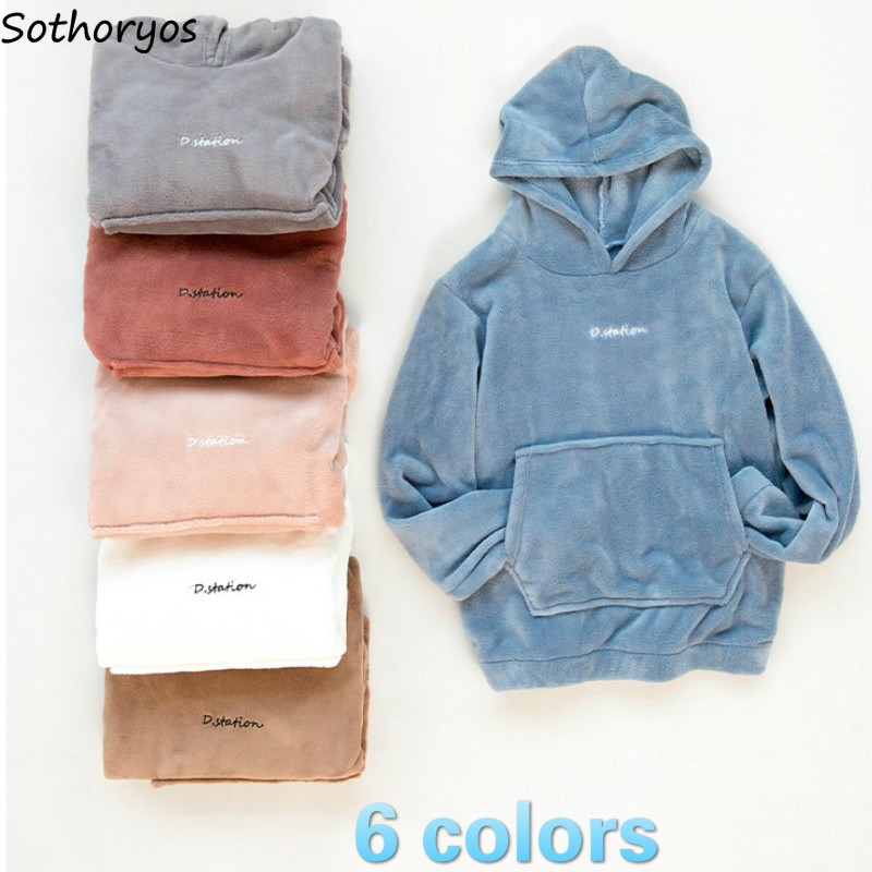 Pajama Sets Women Solid Soft Coral Velvet Hooded Warm Winter Comfortable Chic Womens Clothing Sleepwear High Quality Fashion HOT