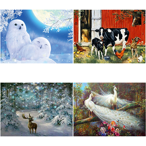 DIY 5D Diamond Painting owl & cow Animal farm Picture Rhinestones Diamond Embroidery Full Round Mosaic Cross Stitch Home Decor